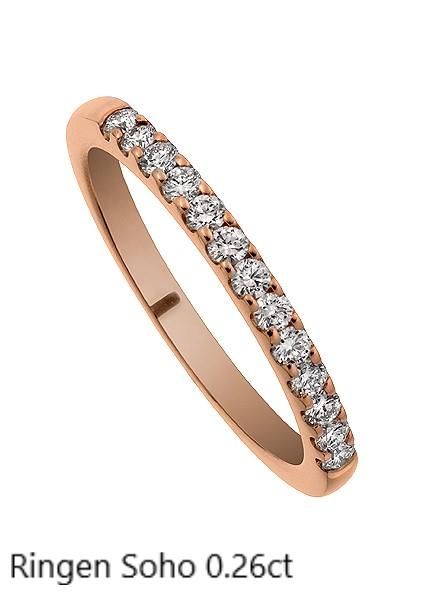 Ringen Soho. Diamant Alliansring Förlovningsring Vigselring Stockholm Guldsmed