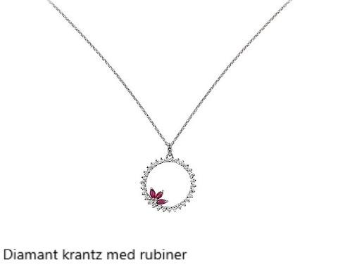 Diamant krantz med rubiner Vitguld Stockholm Guldsmed