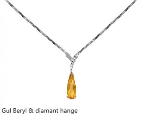 Gul Beryl Hänge med diamanter vitguld Stockholm Guldsmed