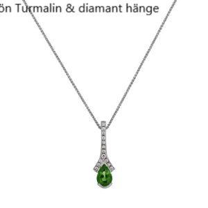 Hängsmycke Grön Krom Turmalin diamanter handsmidd Vitguld Stockholm