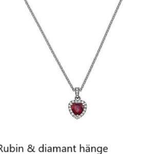 Hjärt slipad rubin med diamanter Hängsmycke Handsmidd Stockholm Guldsmed