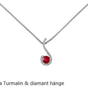 Rosa Turmalin med diamanter Vitguld Stockholm Guldsmed