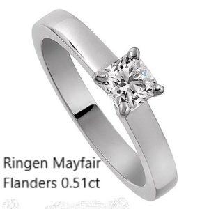 Ringen Mayfair 0.57 Flanders diamant Förlovningsring Vigselring Vitguld Stockholm Guldsmed